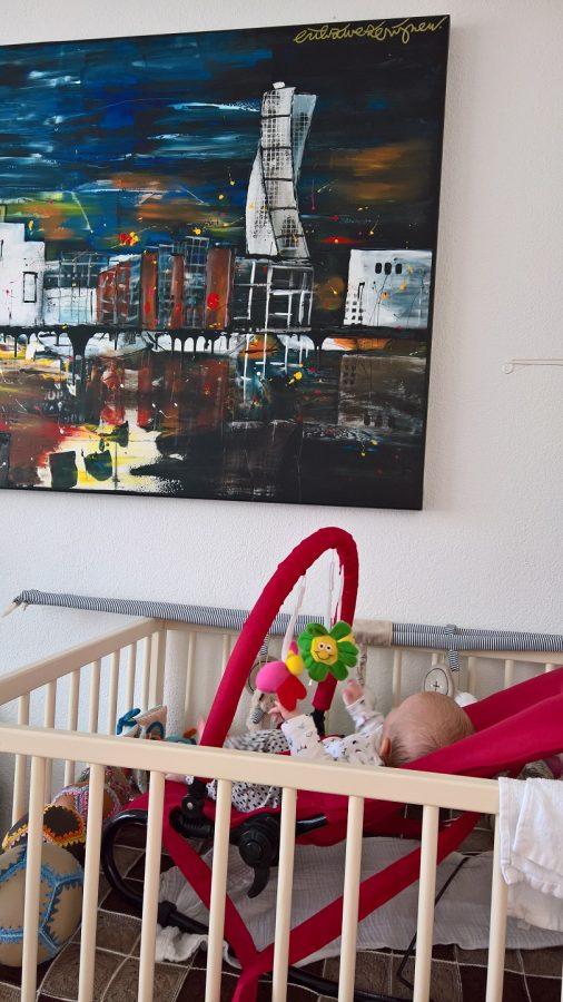 Baby 10 weken schilderij ontdekken erik zwezerijnen