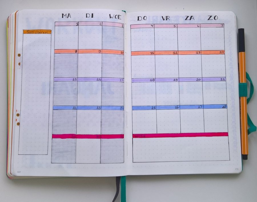 Bullet journal monthly lay out januari