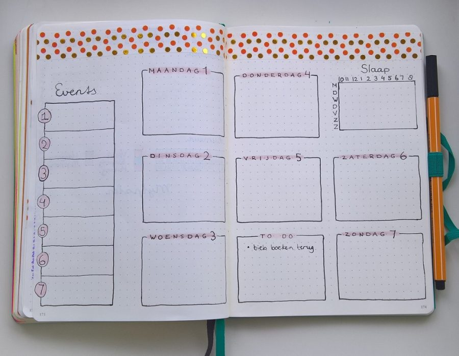 Bullet journal weekly lay out januari 2018