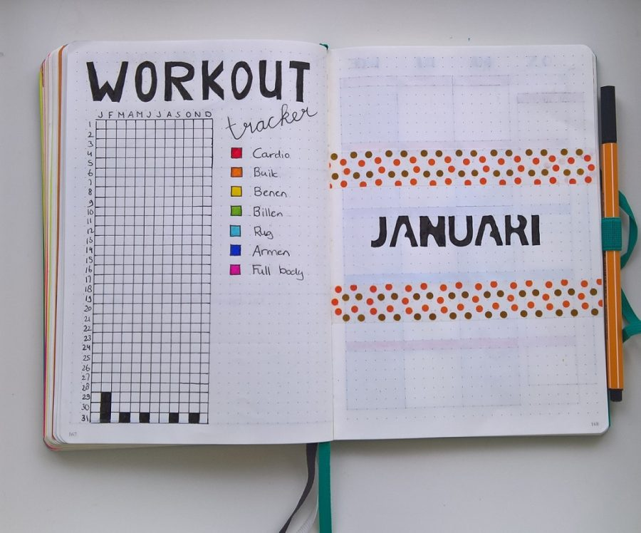 Bullet journal workout tracker voorpagina januari 2018
