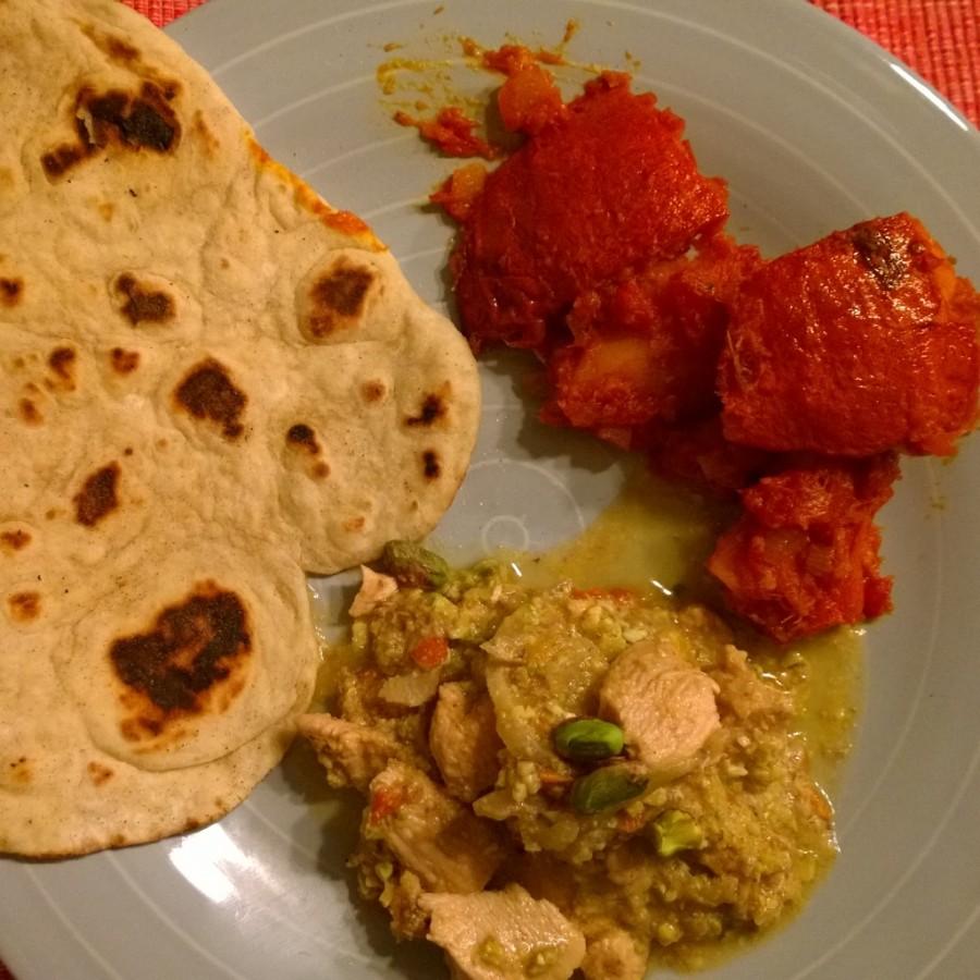 Curry met home made naan kookclub