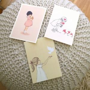 Design kaarten belle boo meisje duif