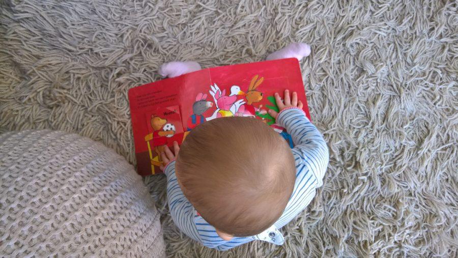 Dochter 9 maanden zitten boekje lezen