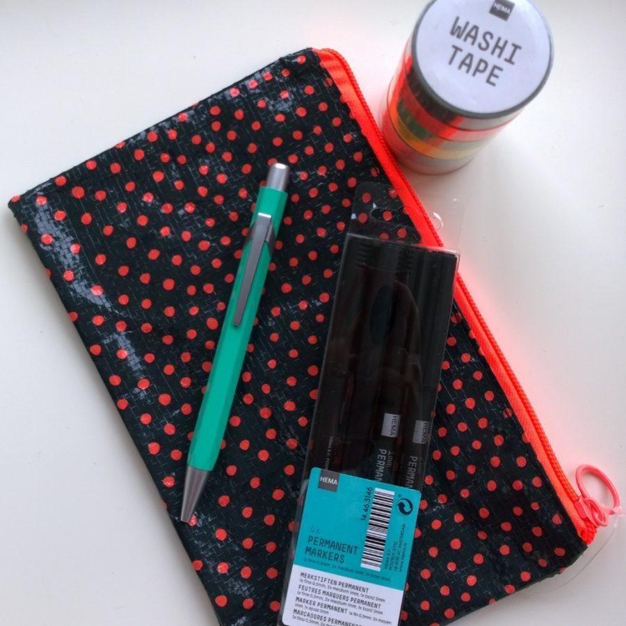 HEMA etui washitape markers pen