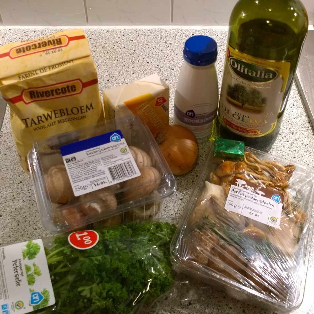 Ingredienten paddenstoelenragout