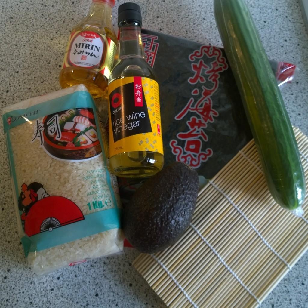 Ingredienten sushi vegetarische maki