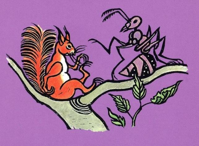 Toon tellegen mier eekhoorn illustratie